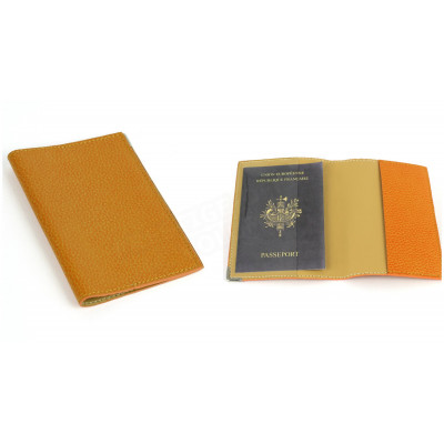 Etui passeport cuir Orange Beaubourg