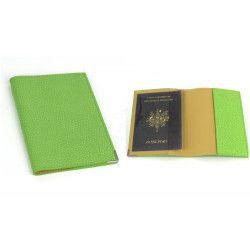 Etui passeport cuir Vert-anis Beaubourg