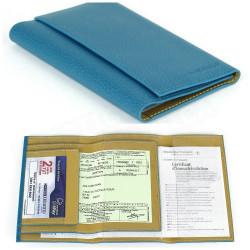 Etui papier voiture cuir Bleu-turquoise Beaubourg