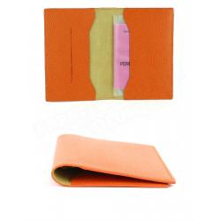 Etui voyage papiers-CB-passeport cuir Orange Beaubourg