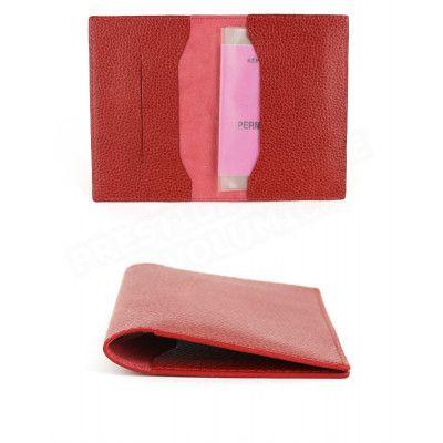 Etui voyage papiers-CB-passeport cuir Rouge Beaubourg