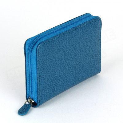 Porte-monnaie Frenchy cuir Bleu-turquoise Beaubourg