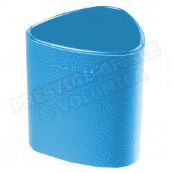 Pot à crayons triangulaire cuir Bleu-turquoise Beaubourg