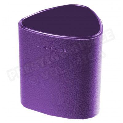 Pot à crayons triangulaire cuir Violet Beaubourg