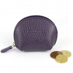 Mini porte-monnaie cuir Violet Beaubourg