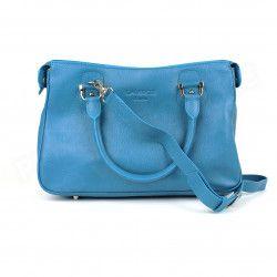 Sac Cabas Monaco Cuir Bleu turquoise Beaubourg