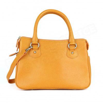Mini sac à main Monaco cuir Orange Beaubourg