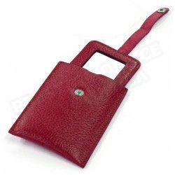Miroir de poche cuir Rouge-bordeaux Beaubourg
