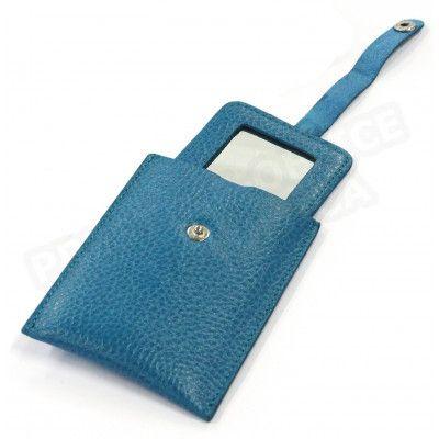 Miroir de poche cuir Bleu-turquoise Beaubourg