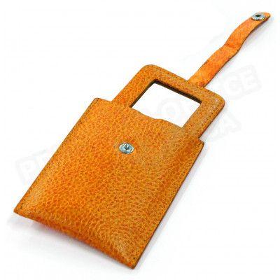 Miroir de poche cuir Orange Beaubourg