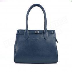 Sac Cabas Shopping Nathalie cuir Bleu marine Beaubourg