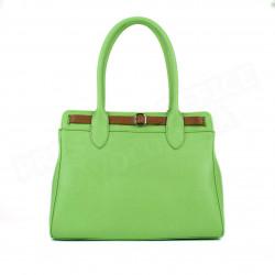 Sac Cabas Shopping Nathalie cuir Vert anis Beaubourg