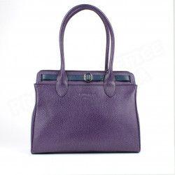 Sac Cabas Shopping Nathalie cuir Violet Beaubourg