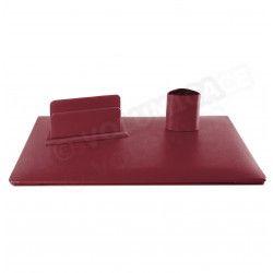 Parure de bureau Jazz cuir Rouge-bordeaux Beaubourg