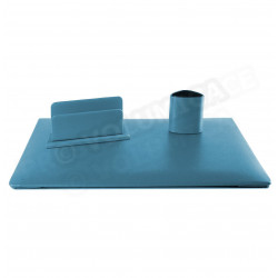 Parure de bureau Jazz cuir Bleu-turquoise Beaubourg