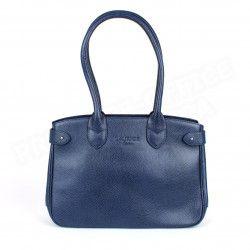 Sac Cabas Shopping Paris cuir Bleu marine Beaubourg