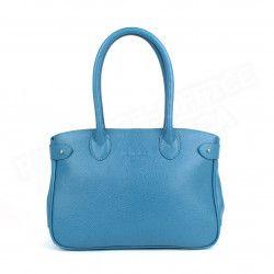 Sac Cabas Shopping Paris cuir Bleu turquoise Beaubourg