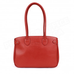 Sac Cabas Shopping Paris cuir Rouge Beaubourg