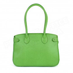 Sac Cabas Shopping Paris cuir Vert anis Beaubourg