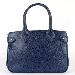 Mini sac Cabas Shopping Paris cuir Bleu marine Beaubourg