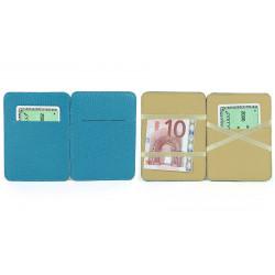 Porte billets cuir Bleu-turquoise Beaubourg
