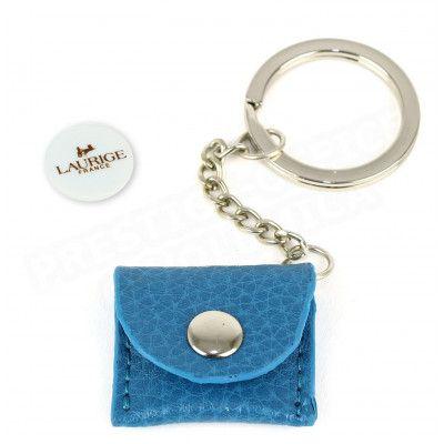 Porte-clés caddie cuir Bleu turquoise Beaubourg