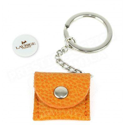 Porte-clés caddie cuir Orange Beaubourg
