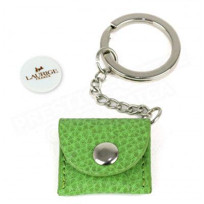 Porte-clés caddie cuir Vert anis Beaubourg
