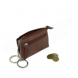 Petit Porte-clés/Porte monnaie cuir Marron Beaubourg