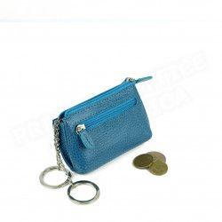 Petit Porte-clés/Porte monnaie cuir Bleu-turquoise Beaubourg