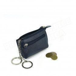 Petit Porte-clés/Porte monnaie cuir Bleu-marine Beaubourg