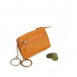 Petit Porte-clés/Porte monnaie cuir Orange Beaubourg