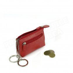 Petit Porte-clés/Porte monnaie cuir Rouge Beaubourg