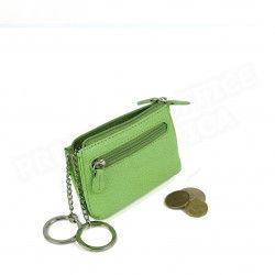Petit Porte-clés/Porte monnaie cuir Vert-anis Beaubourg