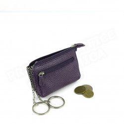 Petit Porte-clés/Porte monnaie cuir Violet Beaubourg
