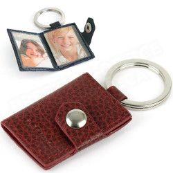 Porte-clés photos cuir Rouge-bordeaux Beaubourg