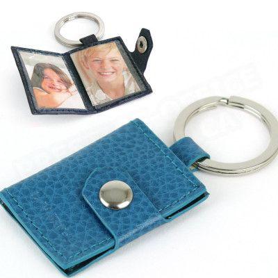 Porte-clés photos cuir Bleu-turquoise Beaubourg