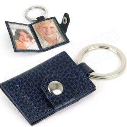 Porte-clés photos cuir Bleu-marine Beaubourg