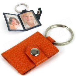 Porte-clés photos cuir Orange Beaubourg