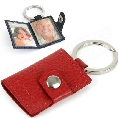 Porte-clés photos cuir Rouge Beaubourg