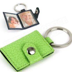 Porte-clés photos cuir Vert-anis Beaubourg