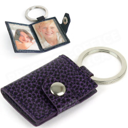 Porte-clés photos cuir Violet Beaubourg