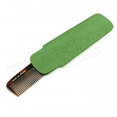 Etui peigne cuir Vert anis Beaubourg