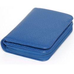 Portefeuille zip cuir Bleu-turquoise Beaubourg