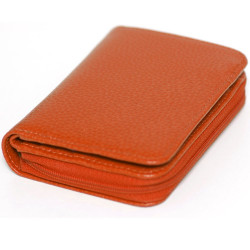 Portefeuille zip cuir Orange Beaubourg