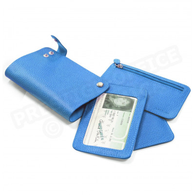 Portefeuille pivot cuir Bleu turquoise Beaubourg