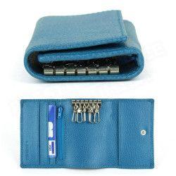 Porte-monnaie à clefs cuir Bleu-turquoise Beaubourg