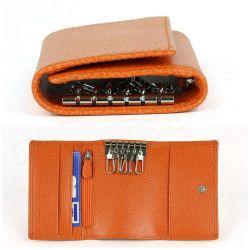 Porte-monnaie à clefs cuir Orange Beaubourg