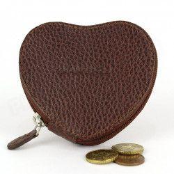 Porte-monnaie Coeur cuir Marron Beaubourg