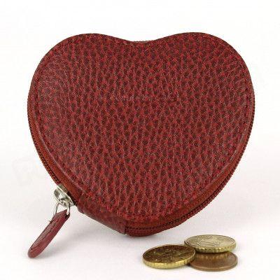 Porte-monnaie Coeur cuir Rouge Bodeaux Beaubourg